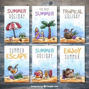 Акварели лета плакаты комплект