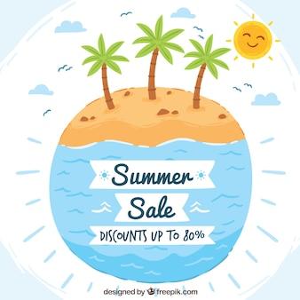 수채화 여름 판매 배경