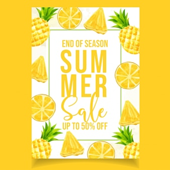 Watercolor summer sale banner orange pineapple