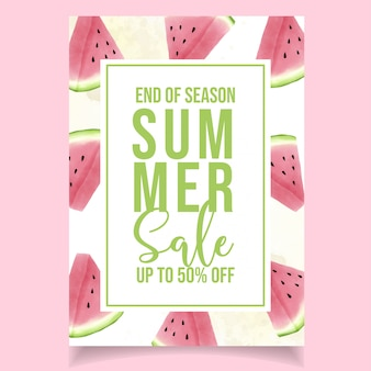 Watercolor summer sale banner watermelon pink
