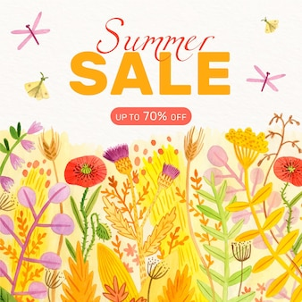 Watercolor summer sale concept