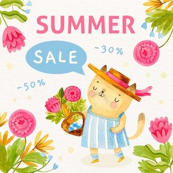 Watercolor summer sale concept