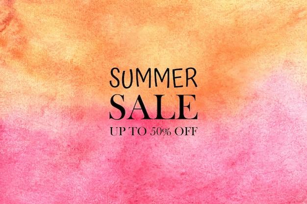 Акварель летняя распродажа. ручная роспись акварелью красочные пятна на бумаге