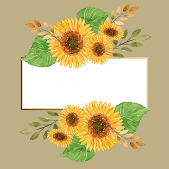 Watercolor summer sunflowers floral gold frame template