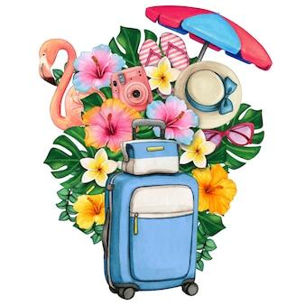 Акварель летние символы багажа и тропических цветов