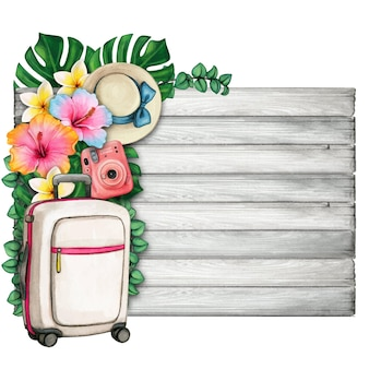 Watercolor summer symbols luggage and tropical flowers