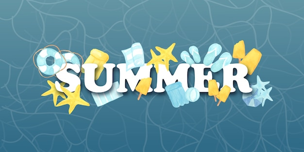 Watercolor summer text with beach elements