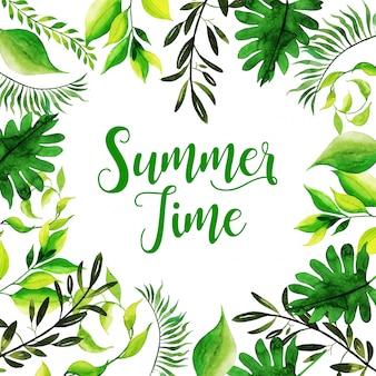 수채화 여름 시간 배경