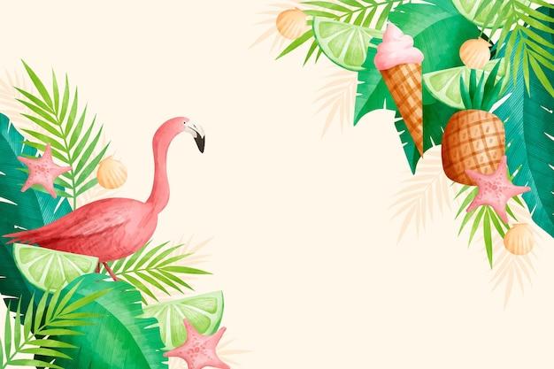 Watercolor summer wallpaper concept