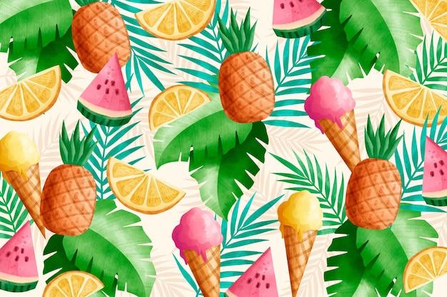 Watercolor summer wallpaper