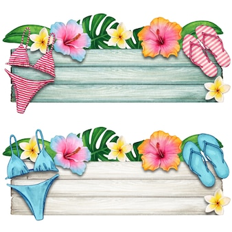 Watercolor summer wooden banner with tropical flowers