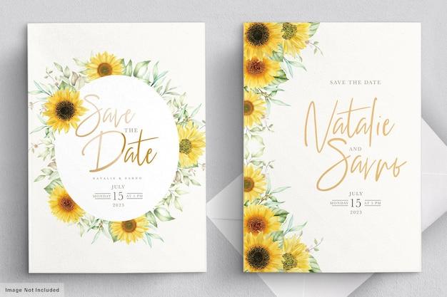 Set di carte dell'invito del fiore del sole dell'acquerello