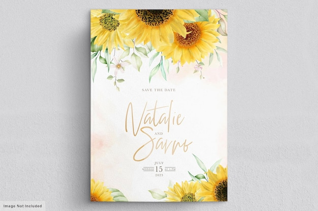 Watercolor sun flower invitation card set