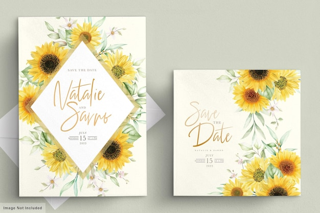 Watercolor sun flower invitation card set