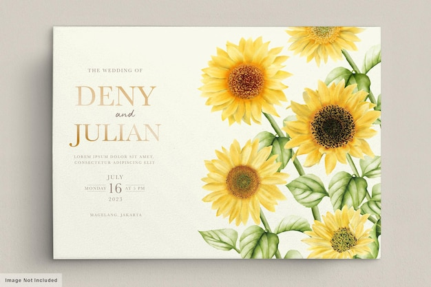 Watercolor sun flower wedding invitation card