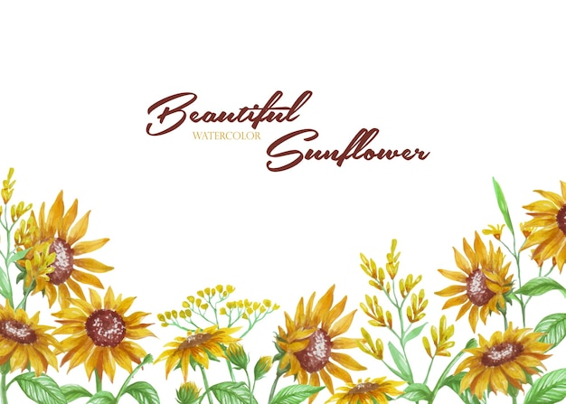 Watercolor sunflower for background or frame