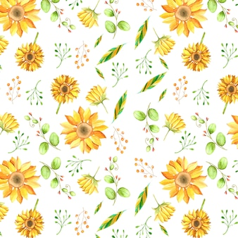 Watercolor sunflower background