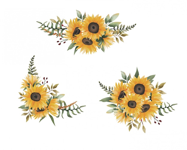 Watercolor sunflower bouquet collection