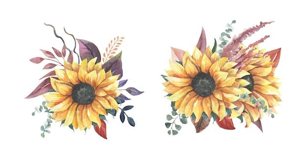Watercolor sunflower bouquets.
