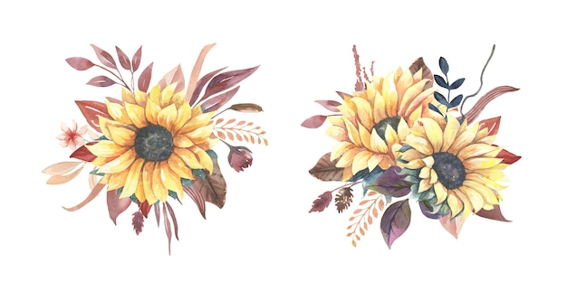 Watercolor sunflower bouquets.
