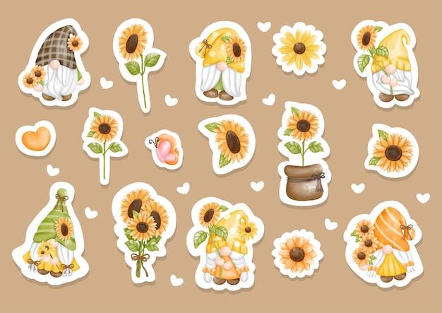 Watercolor sunflower gnome sticker set