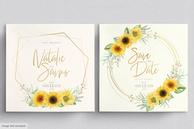 Watercolor sunflower invitation card set