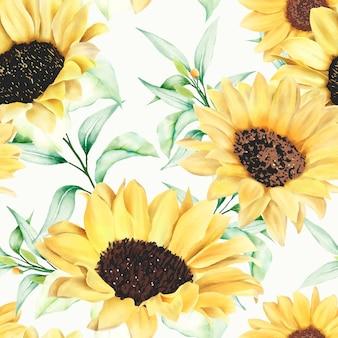 Watercolor sunflower seamless pattern