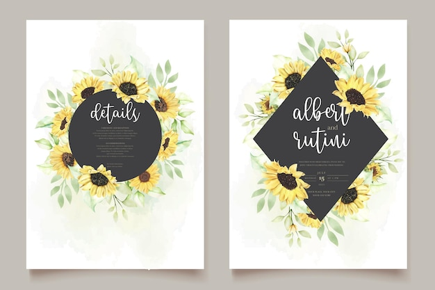 Watercolor sunflower wedding invitation card set