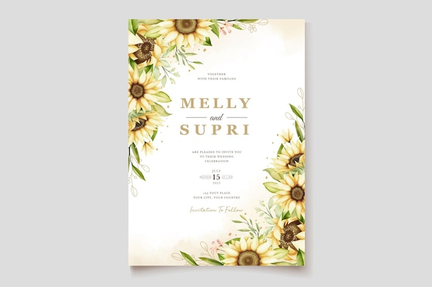Watercolor   sunflower wedding invitation card