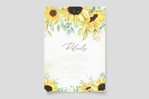 Carta di invito a nozze girasole acquerello