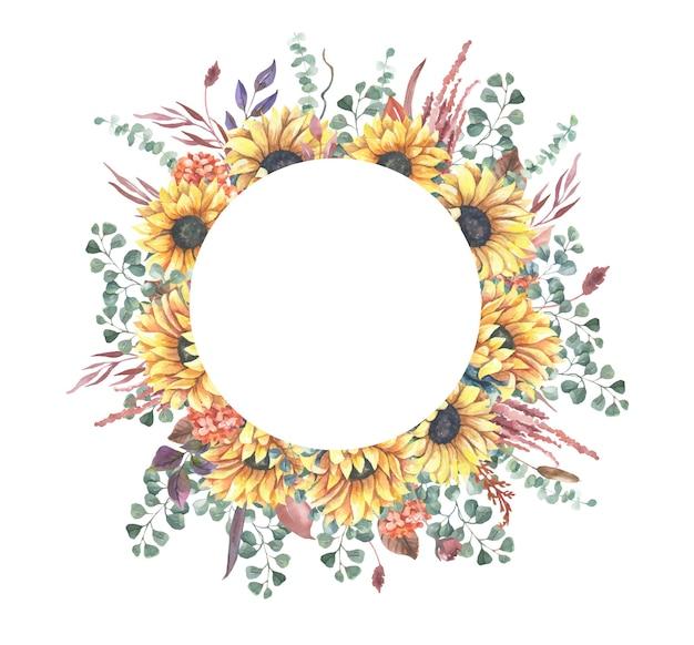 Watercolor sunflower wreath.