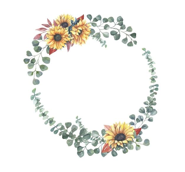 水彩ひまわり花輪。