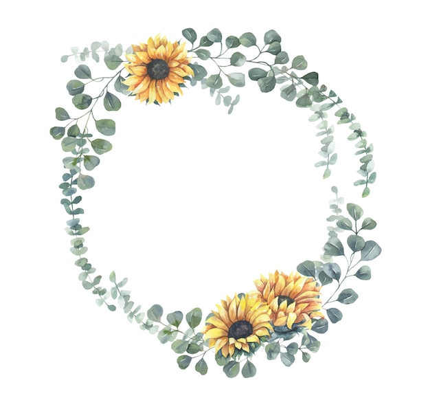 Watercolor sunflower wreath.