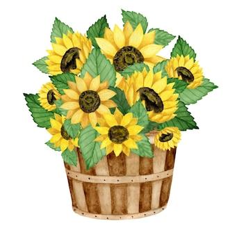 木製のバケツ農家の秋の装飾の水彩ひまわりの花束。