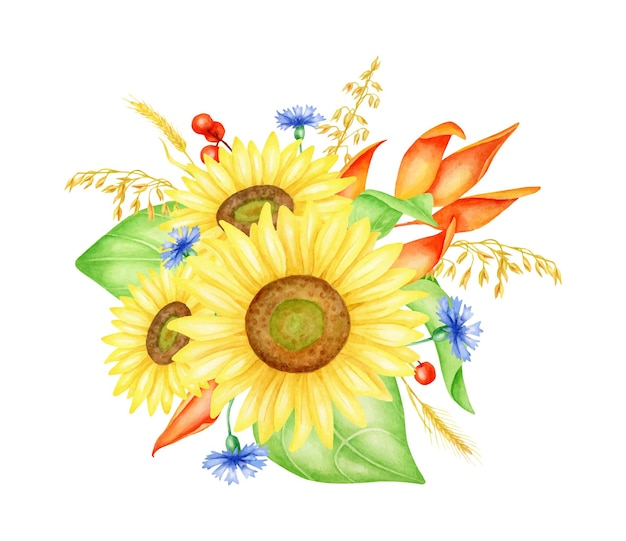수레국화와 수채색 해바라기 꽃다발은 열매와 밀 이삭을 남긴다