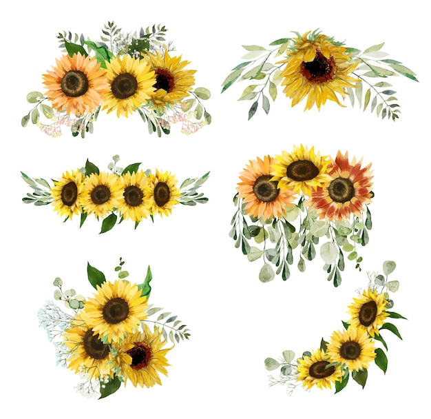 Watercolor sunflowers and greenery bouquets floral clipart