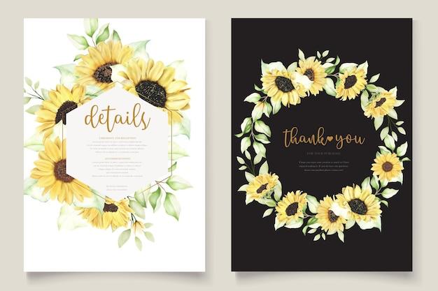 Set di carte di invito a nozze girasoli acquerello Vettore gratuito