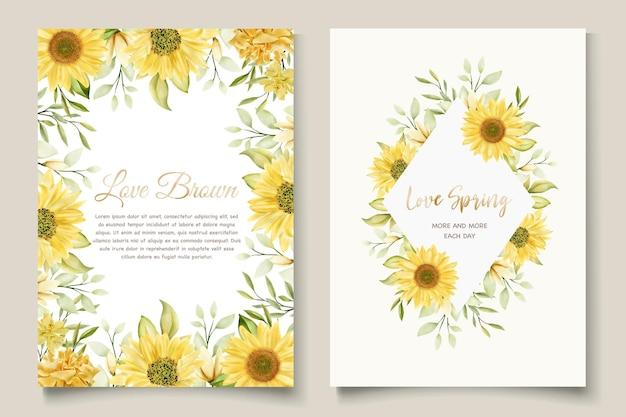 Watercolor sunflowers wedding invitation card template