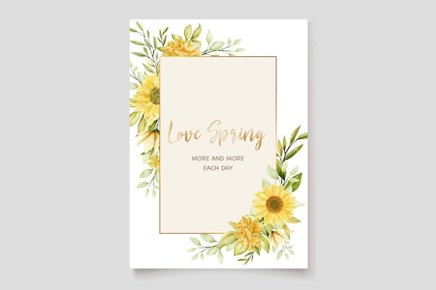 Watercolor sunflowers wedding invitation card template