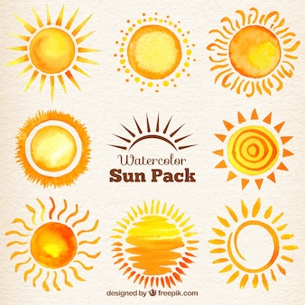 Watercolor suns pack
