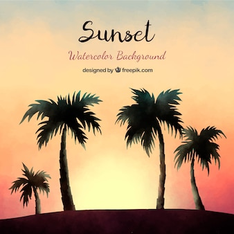 Watercolor sunset and palm silhouettes background