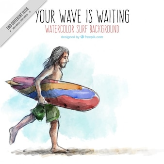 Watercolor surfer background with a quote