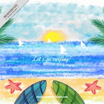 Watercolor surfing background