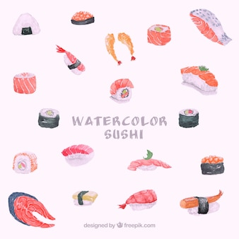 Watercolor sushi background