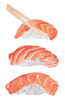Watercolor sushi set with salmon