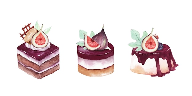 Watercolor sweet and delicious cakes with figs