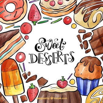 Watercolor sweet desserts frame