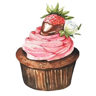 Watercolor sweet desserts. watercolor cake.