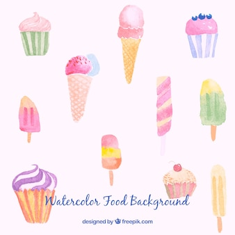 Watercolor sweet food background