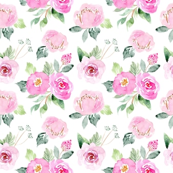 Watercolor sweet pink floral pattern